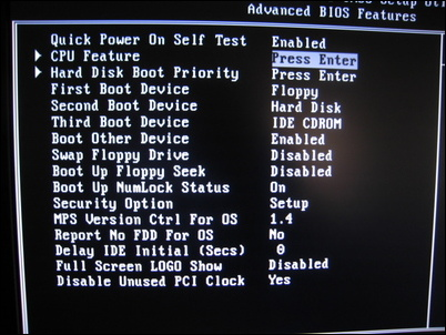 BIOS Advanced Features