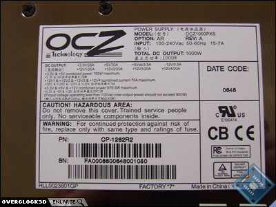 OCZ ProXStream 1kw Label