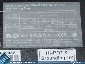 Seasonic S12-II 430w Specs Label