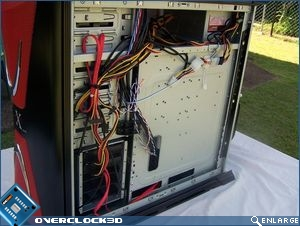 Rear of motherboard showing the routing of cables