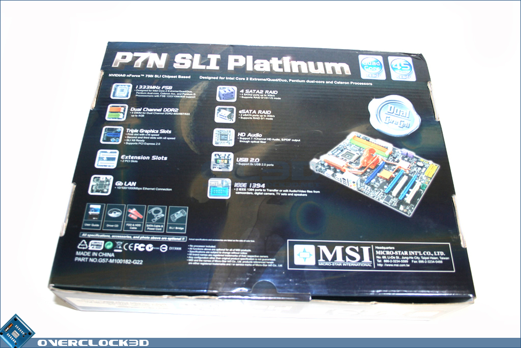 MSI P7N SLI Platinum 750i based motherboard | Packaging and