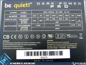 Be Quiet! Dark Power Pro 650w Specs
