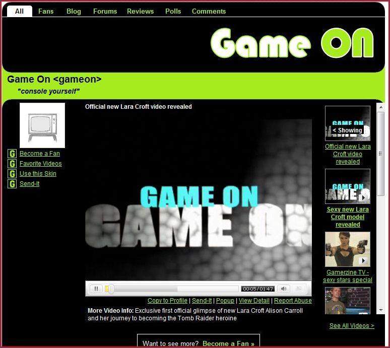 'Game On' Gamers Bebo Channel