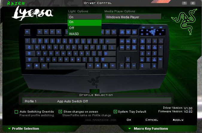 RAZER Lycosa Gaming Keyboard | Installation and Software | Input