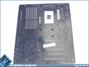 ASUS Rampage II Extreme rear of motherboard