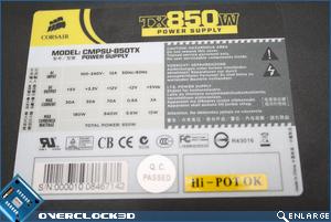 Corsair TX 850w Specs