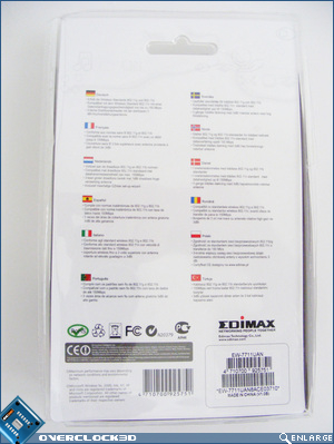 Edimax wireless nLITE USB adaptor - Rear of Package