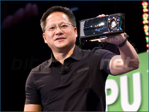 Nvidia CEO Showing Tesla GT300 Fermi Card
