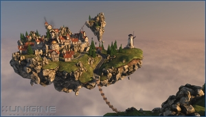 A screenshot from Unigines 'Heaven' Benchmark