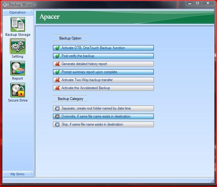 Apacer backup manager options