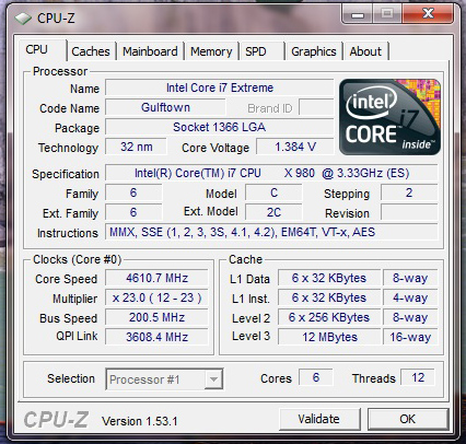 ASUS Rampage III Extreme Review CPUz 4.6GHz