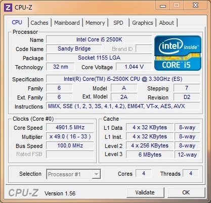 Gigabyte P67A-UD7 Overclocking Result CPUz