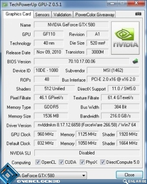 MSI GTX580 Lightning Overclocking