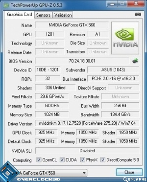 ASUS GTX560 TOP Review Default Clock