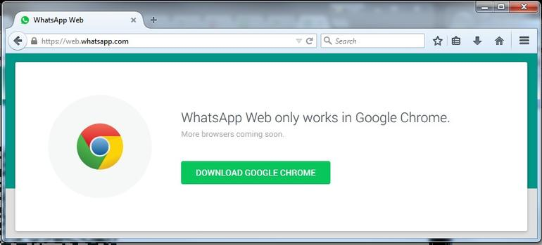 Whatsapp now works on Chrome