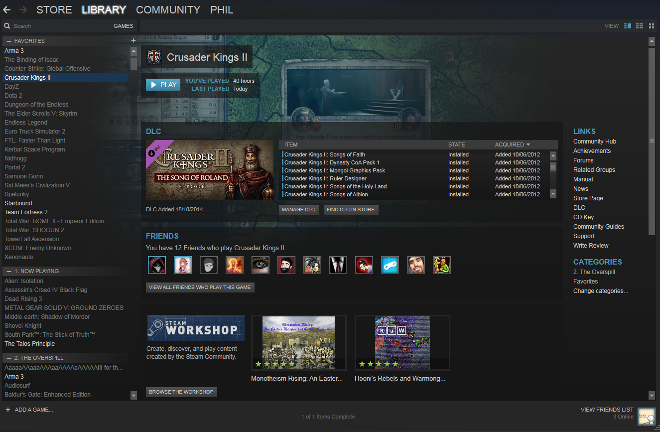 Steam update adds DLC info into the Game Library