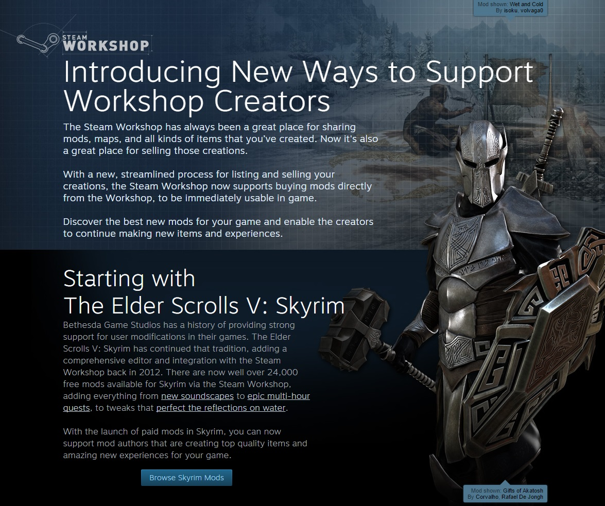 You Can Now Buy Skyrim Mods on Steam