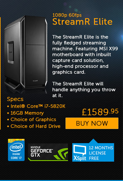 Overclockers UK Introduce their first StreamR Dedicated Live Streaming PCs