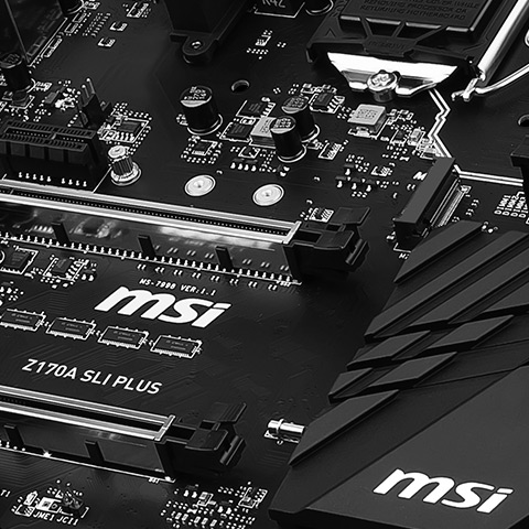 Have a look at the All Black Z170A SLI PLUS MOTHERBOARD