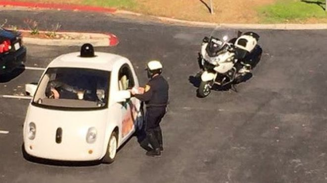 Google car pulled over for being too slow