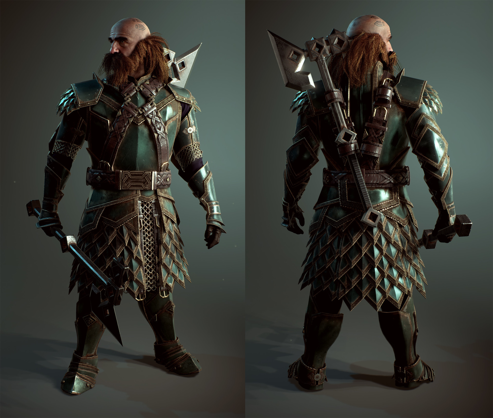 Dwarf Dwalin Realtime Model created in Unreal engine 4