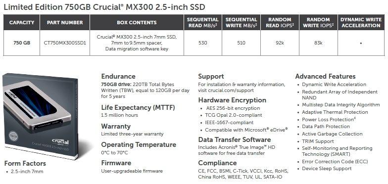Crucial LE MX300 750GB SSD Review