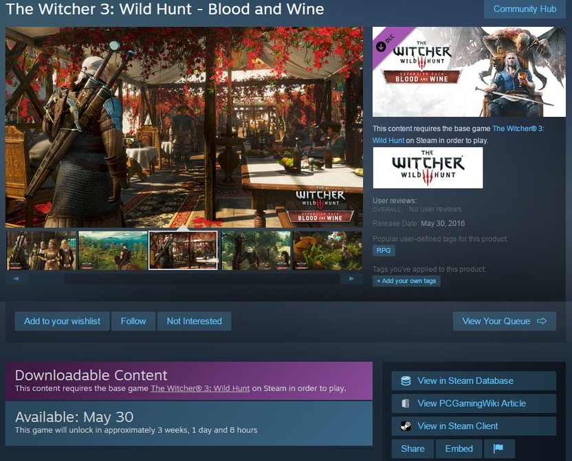 The Witcher 3 Blood And Wine Expansion will release on May 30th according to Steam