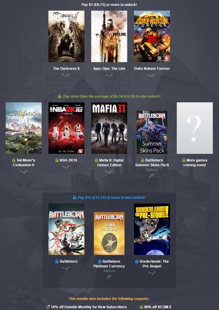 The Humble 2K Bundle is now live