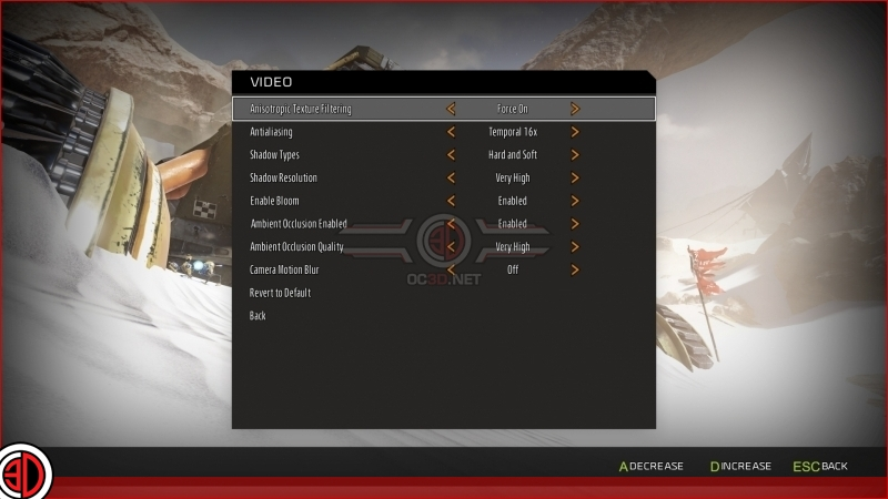 ReCore PC Graphical Options menu