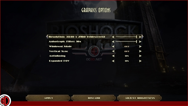 Bioshock: The Collection - Graphical Options Menu
