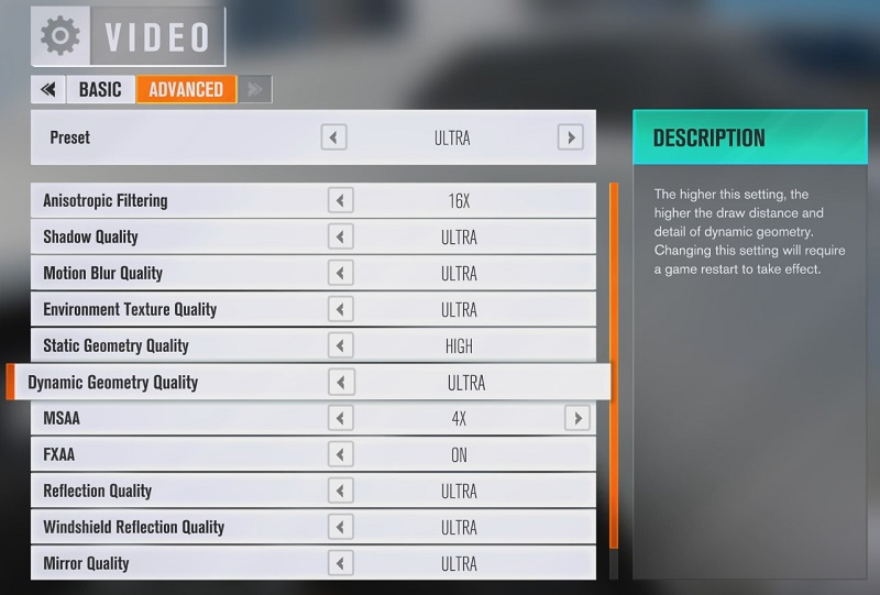 Forza Horizon 3 Graphical Options Menu