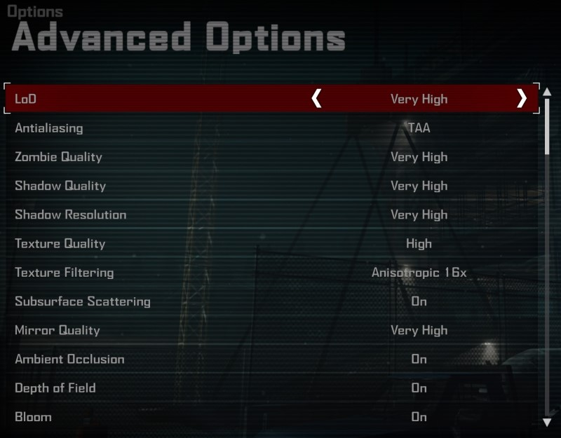 Dead Rising 4 PC graphical options menu