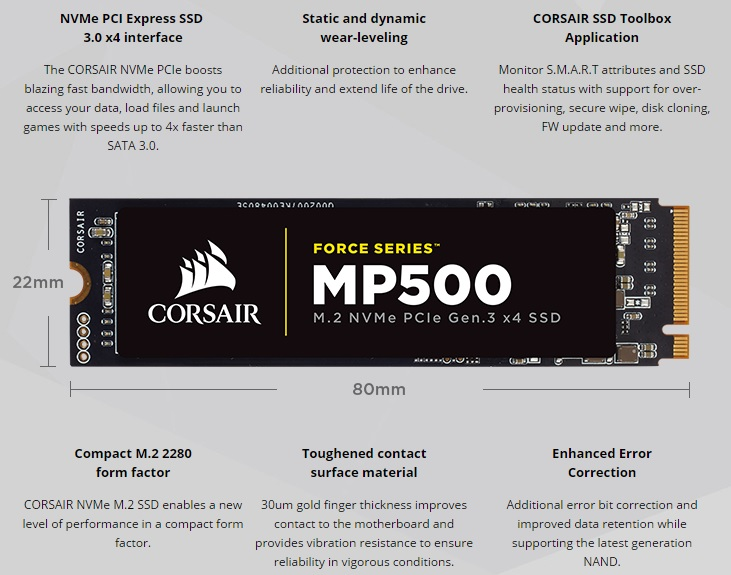 Corsair releases their MP500 series of M.2 NVMe SSDs