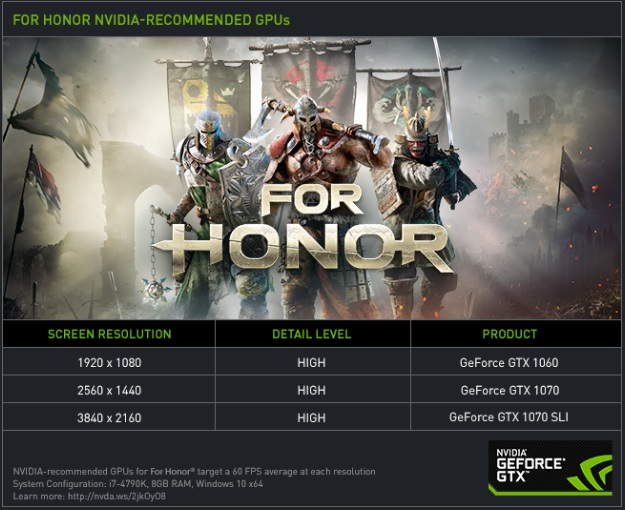 Nvidia release their own PC hardware recommendations for For Honor
