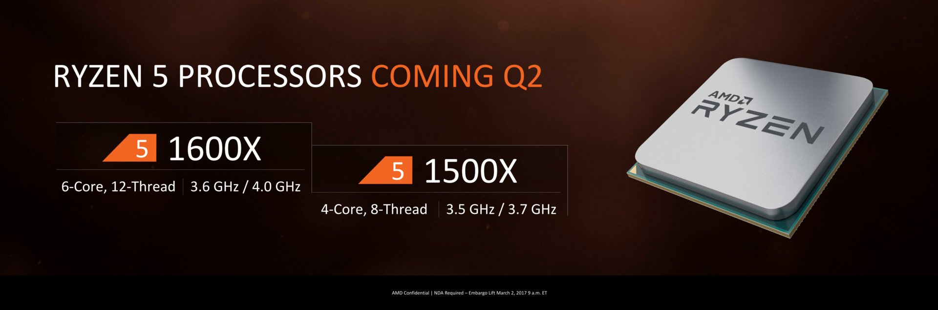 Overclockers UK says that AMD's Ryzen 5 CPUs will release in a