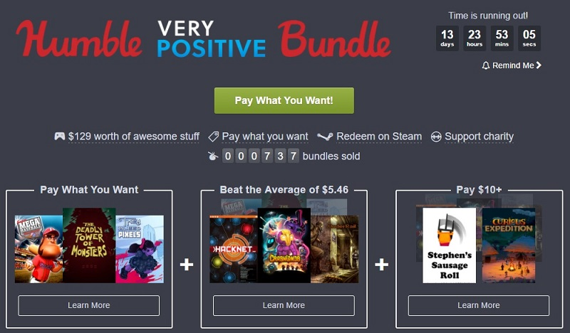 The Humble Very Positive Bundle is now live