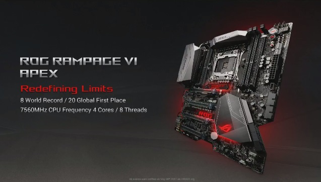 ASUS achieve 7.56GHz overclock with their X299 Apex motherboard