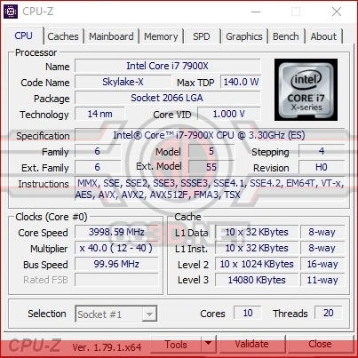 Inte Core i7-7900X Skylake-X Review