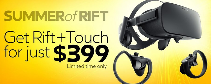The Oculus Rift + Touch bundle will return to a price of $499 after the summer of Rift