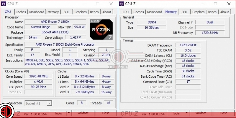 AMD Ryzen 7 1800X Overclocking