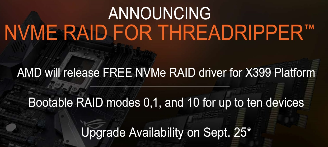AMD will bring NVMe RAID support to X399 on September 25th