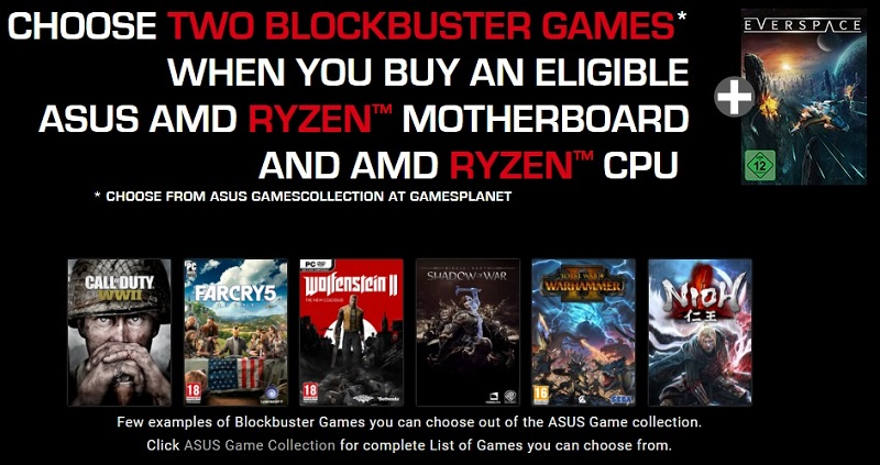 ASUS is offering two free games as part of their ROG+Ryzen Reloaded bundle