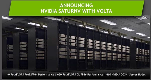 The SaturnV AI Supercomputer will soon be powered by over 5,000 Volta GPUs
