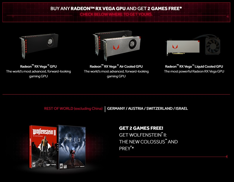 AMD reveals two game bundle with RX Vega series GPUs