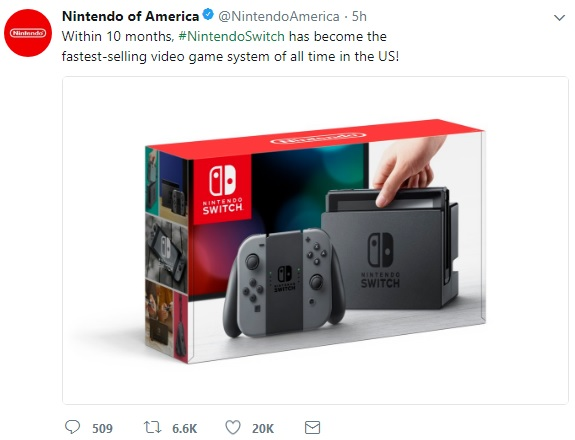 Nintendo has become the US' fastest selling console