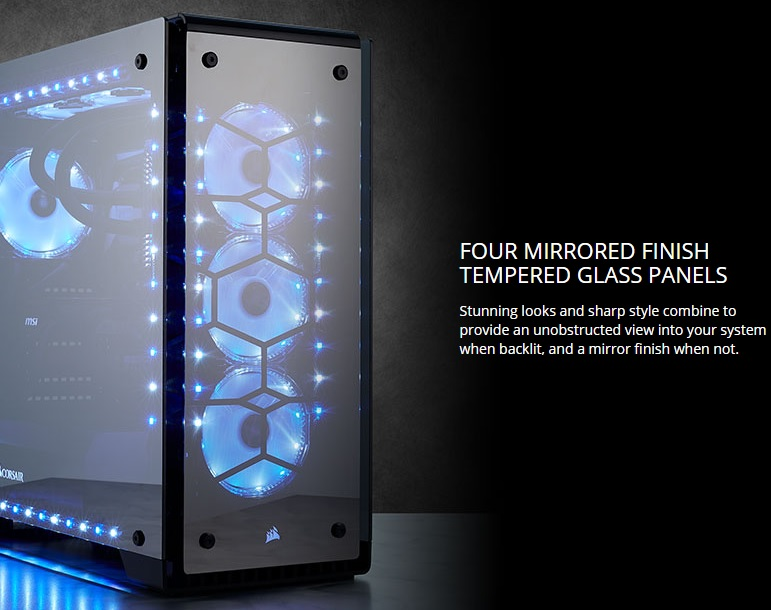 Corsair launches their new 70X RGB Mirror Black Glass Chassis