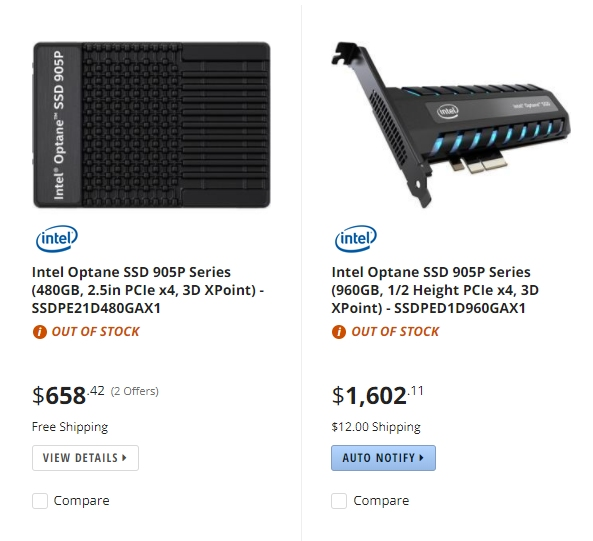 Intel's Optane 905P SSD listed at online retailers