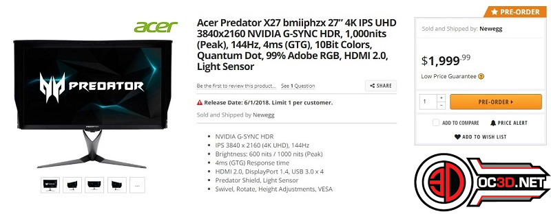 Acer's G-Sync HDR Predator X27 has been listed on NewEgg for $1999