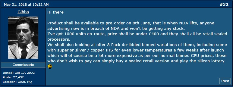 Overclockers UK staff reveals i7-8086K pre-order date and estimated pricing