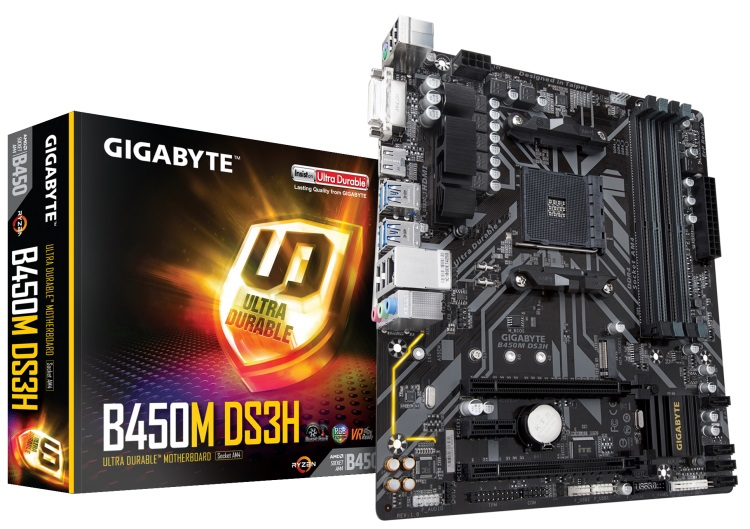 Low-cost Gigabyte B450M-DS3H AM4 motherboard arrives at retail
